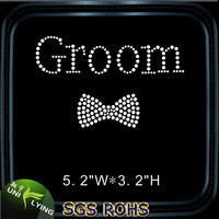 Beautiful groom bow strass hotfix rhinestone motif for groom