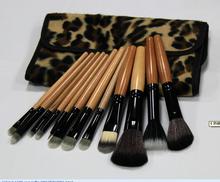 2015 Professional Makeup kits 12 PCs Brush Cosmetic Facial Make Up Set tools With Leopard Bag makeup brush tools
