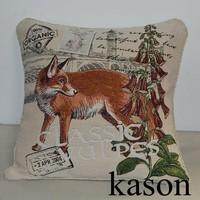 fox design square size woven fabric jacquard wholesale christmas decoration cushion covers