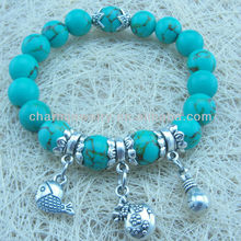 Elastic bead bracelets with anchor charms New design glass rhinestone bead bracelets jewelry