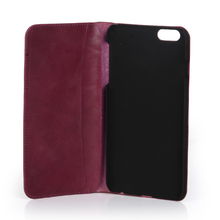 Mobile accessories new products genuine leather wallet case for iphone 6 plus MOQ:300pcs