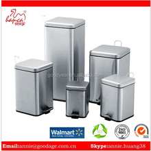 Office bin waste can with satin flat lid and plastic bucket