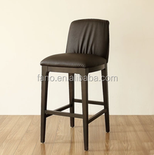 Hotel restaurant wooden bar chair/oak wood bar stool/leather bar chair