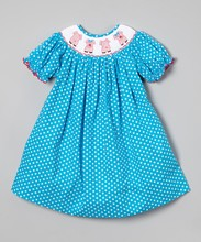 OEM Top Quality 100% Cotton Girls Dresses Smocked Children Clothing Wholesale