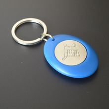 Plastic trolley coin holder with custom logo token-high quality