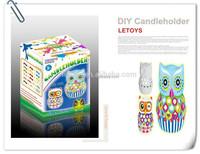 Owl animal Ceramics candle holder / DIY Free Painting Candlestick