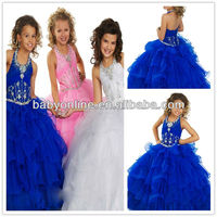 Wholesale Halter Neck Beaded Bodice Organza Ruffled Floor Length Puffy Ball Skirt Royal Blue Little Queen Flower Girl Dress