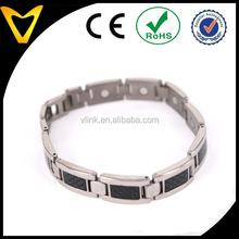 Healthy Products New Mens Titanium Magnetic Bracelet with Black Carbon Fiber Insets,Elegant Men's Bio Bracelet Titanium