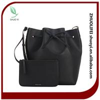 2015 fashion cheap drawstring genuine leather lady shoulder bucket bag