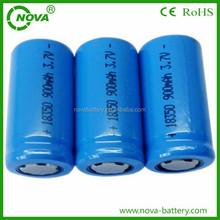 high quality icr18350 li-ion battery 3.7v 900mah