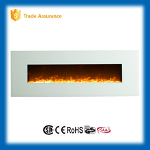 "50"" white glass wall mounted electric fireplace large room heater"