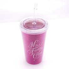 Double Wall Plastic Coffee Mug With Straw