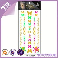 Wholesale Golden Metallic Tattoo Sticker ,Tattoo Sticker Unisex Gift,Body Jewery Gold Tattoo