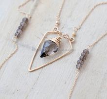 Arrowhead Geometric Necklace, Gold Filled Smoky Quartz, Triangle, Long Layering Fashion