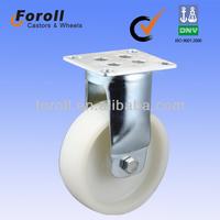 4' heavy duty roller, rigid, top plate, white nylon wheel