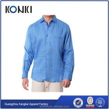 Hombres personalizada de manga larga camisa de lino