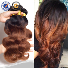 Two tone ombre remy hair weaving, ombre light brown weave hair wholesale