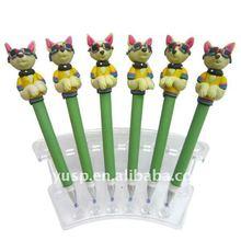Hot sale new design cheap polymer clay ball pen character ballpoint pen