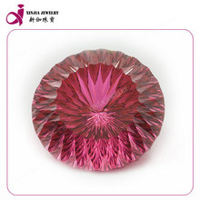 concave cut round pink zirconia for cz jewelry