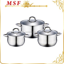 Surgical stainless steel 6pcs cookware pot copper capsulated bottom available 3 layers capsulated induction bottom