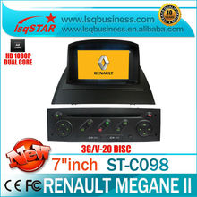 S100 Platform renault megane 2 car dvd player with A8 Chipset with 3G WIFI GPS/BT/TV/Radio/20 Disc CDC/IPOD...Hot selling!