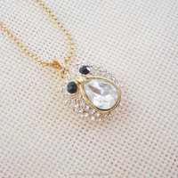 Import in china fashion long gold plated chain necklace crystal beads designs owl necklace for girls