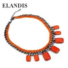E-ELANDIS Woving gun black Plated Orange resin Statement Necklace