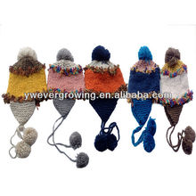 knitted fashion custom knitted cap pom pom beanie hats wholesale snow cap winter ear cap