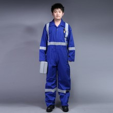 Zip front 100%cotton navy fire retardant coverall with reflective tape/ safety workwear