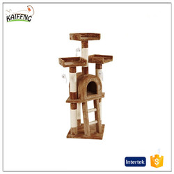 Pet product cat scratching tree post with view platform