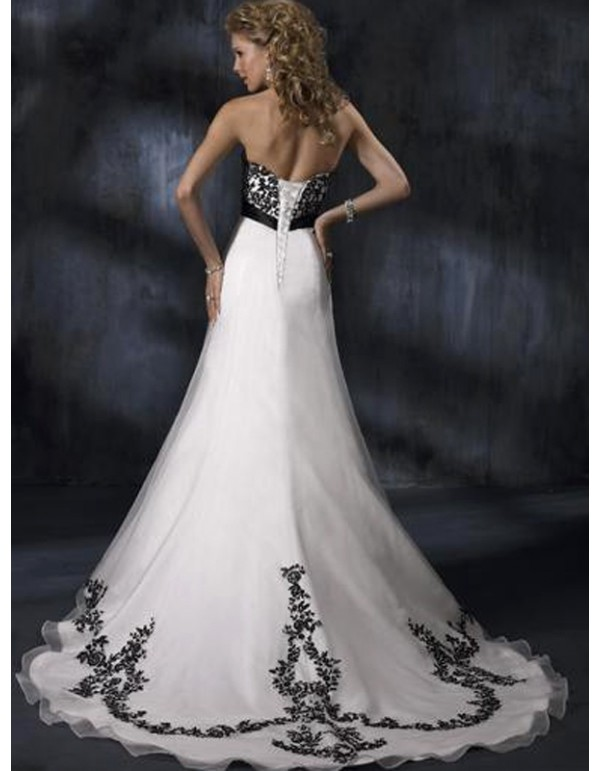Strapless a line black lace appliques and white organza for White wedding dress with black accents