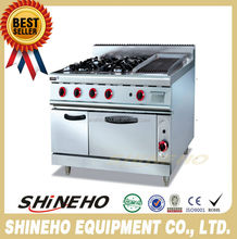 W031 Hot Sale Industrial Gas Cooking Range With 4 Burners And Grill And Oven