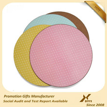 corlored printed Round MDF cork placemat for supermaket