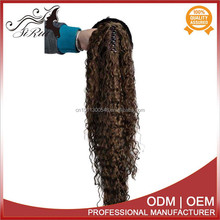 Wholesale Natural Synthetic Fiber clip on hair extension, kinky curly ponytail