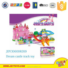 2015 newest plastic b/o pink dream castle adventure train tracks toy