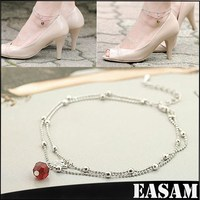 2015 Fashion Pearl Foot Jewelry Wedding Jewelry, swan pendant Anklet Bracelet,red bead pendant Ankle Chain