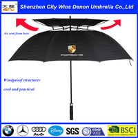 High quality straight car promotional fiberglass new invention durable umbrella double layers golf umbrella with air vents