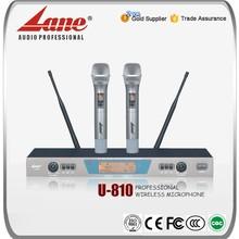 Lane 200 channels High quality uhf long range wireless microphone system U-810