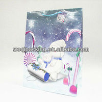 the design of the snowman glossy 3D large size of paper gift bag for christmas