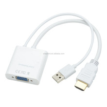 CHEERLINK 1080P Full HD VGA Female to HDMI 1.4 Male + USB 2.0 Adapter Cable - White (18.5cm)