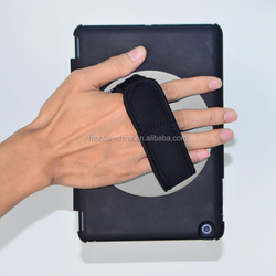 Hand held 360 rotate case for ipad mini 4 with elastic band ,hand strap case for ipad mini 4