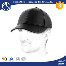 High quality men fitted black leather baseball caps