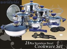 21pcs stainless steel cookware set,kitchenware,cooking pot,frying pan set