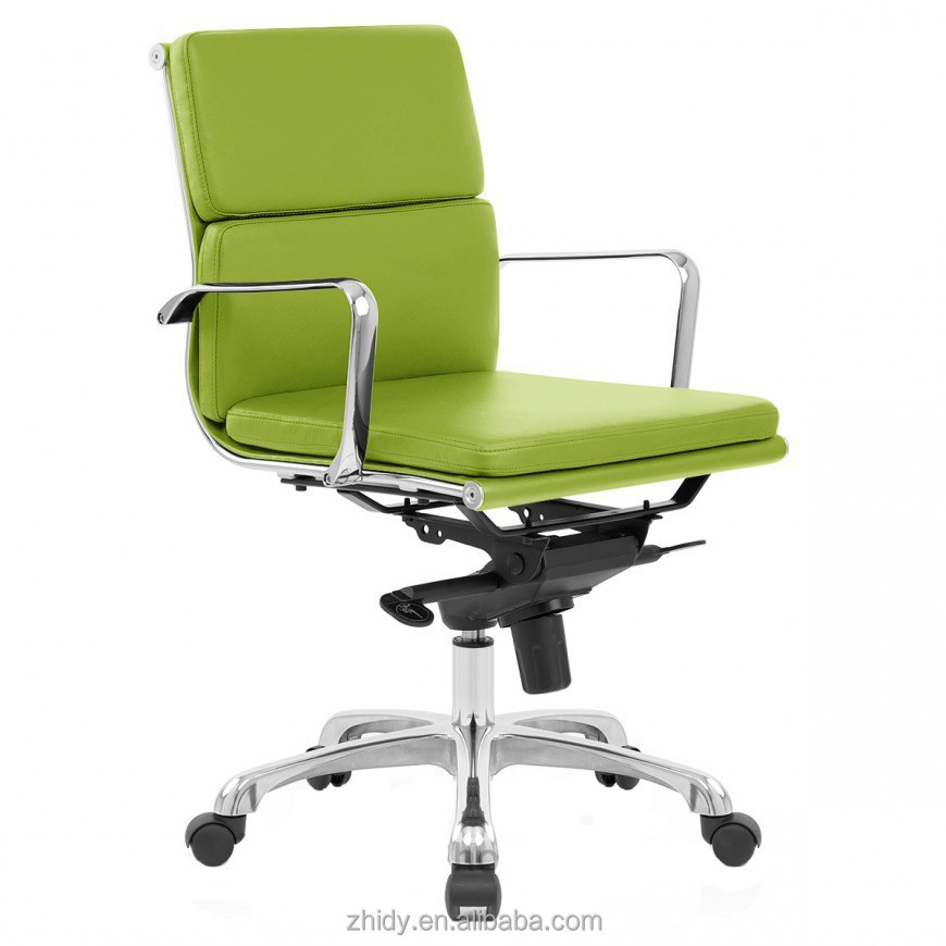 elegant green leather upholstered metal office chair buy