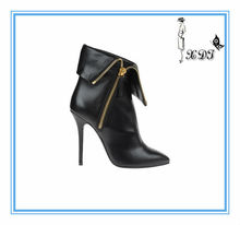 Black new model women leather boots made in china !with genuine leather metal decoration high heel ankle boots