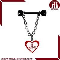 "HT Wholesale ""be mine "" Heart Chain Dangle Nipple Barbell Ring Body Piercing Jewelry"
