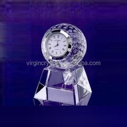 Clear crystal golf ball clock crystal office table clock