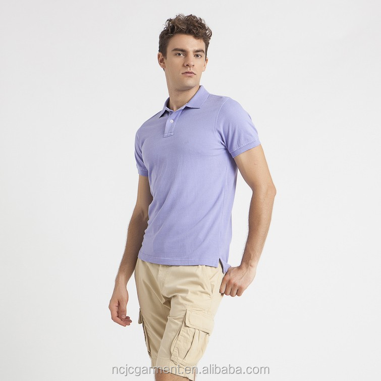 2015 Fashionable Light Purple Polo Shirt Korean Men Style