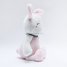 Cute white plush rabbit soft stuffed toy with flower