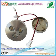 Dimable led puck lights AC/DC12V 3W led puck with dimmable